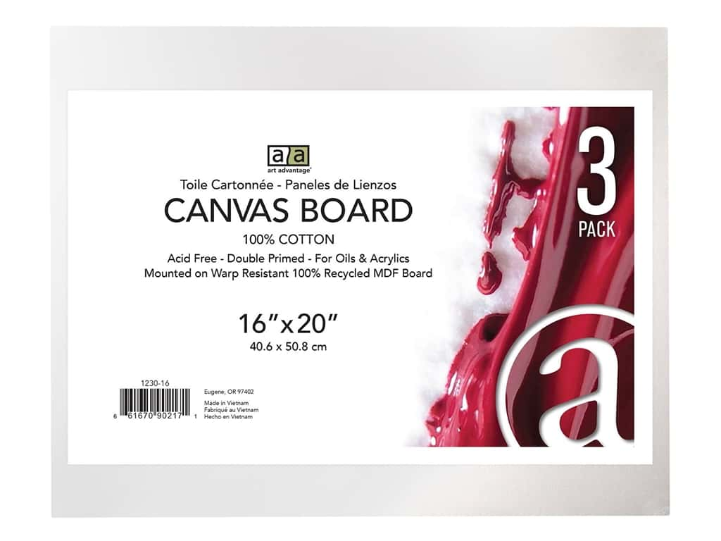 "Art Advantage Canvas Board Recycled MDF 16""x 20"" 3pc"