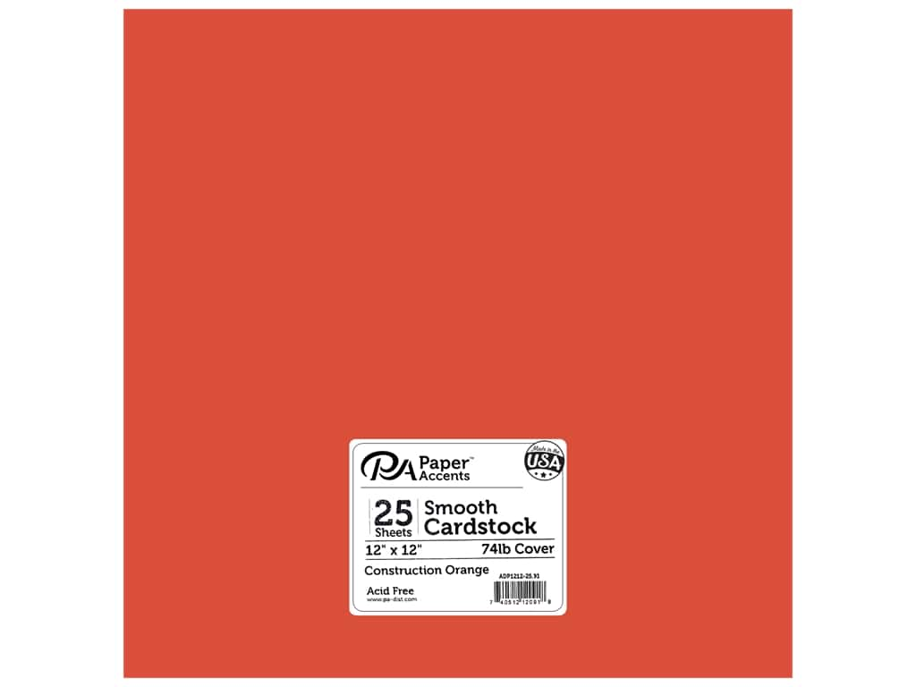 Paper Accents Cardstock 12 x 12 in. #91 Smooth Construction Orange 25 pc.