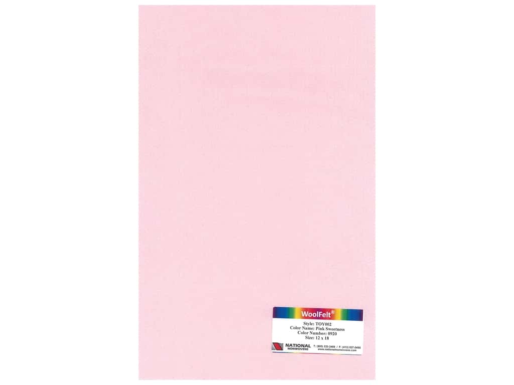 """National Nonwovens Wool Felt 35% 12""""x 18"""" Pink Sweetness (10 pieces)"""