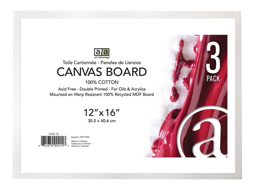 Art Advantage Canvas Board Recycled MDF 12 in. x 16 in. 3 pc
