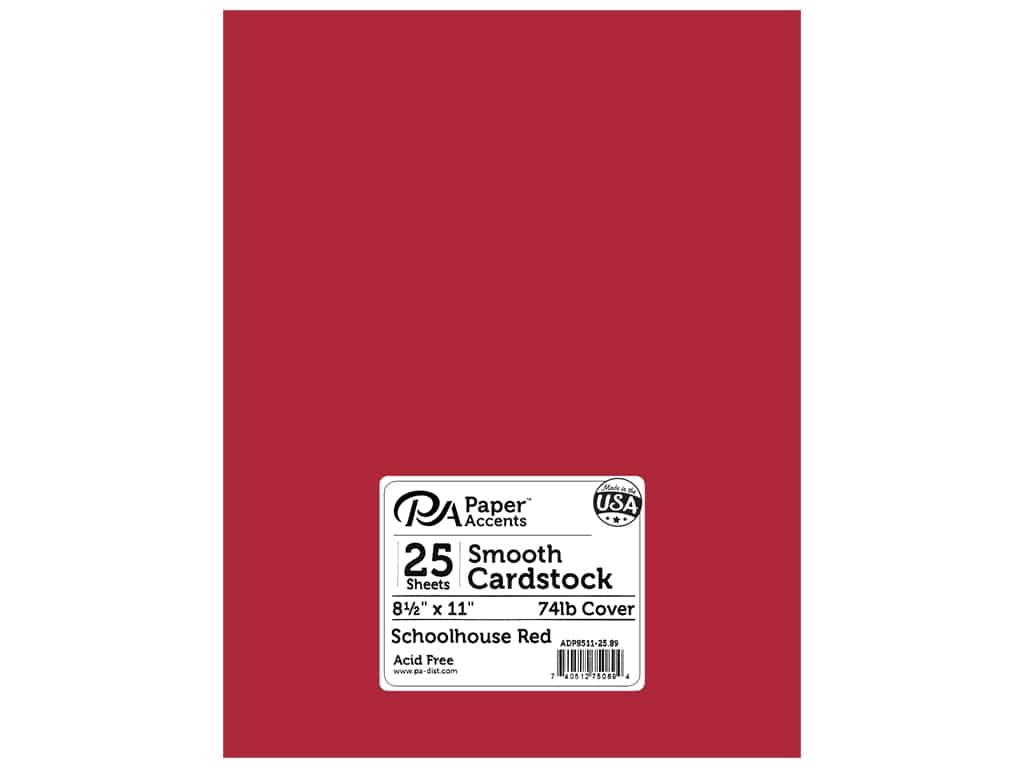 Paper Accents Cardstock 8 1/2 x 11 in. #89 Smooth Schoolhouse Red 25 pc.