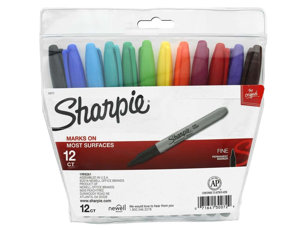 Sharpie Marker Permanent Fine Point In Pouch 12pc