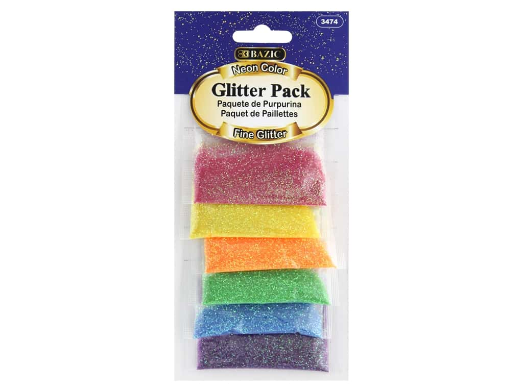 Bazic Glitter Pack Fine 2gm Neon 6pc