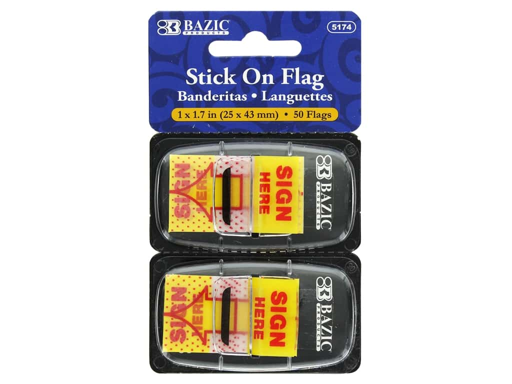 """Bazic Stick On Flag Sign Here 1"""" Yellow 2pc"""