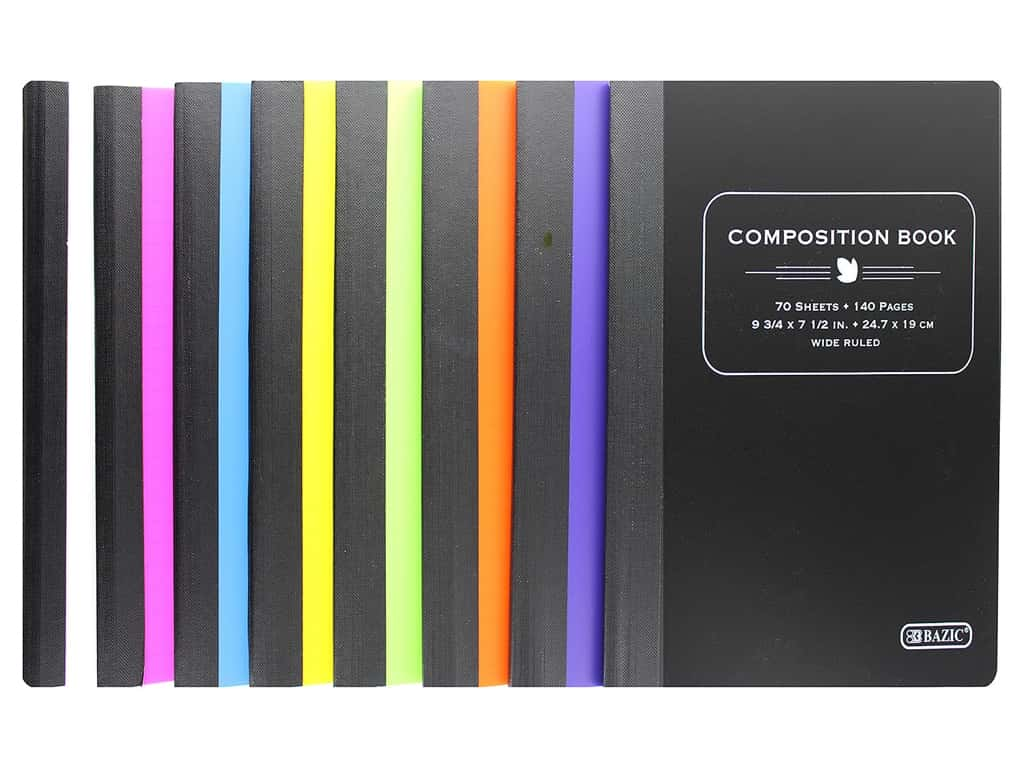 Bazic Composition Book Poly Cover Assorted Wide 70 sheet