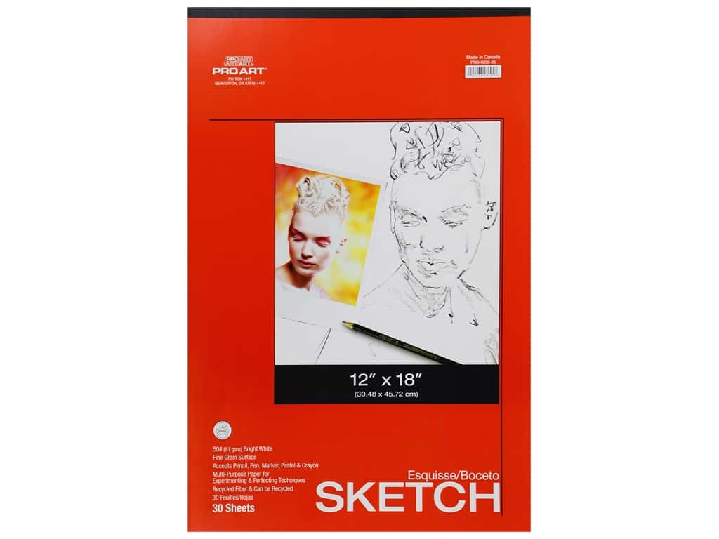Pro Art Sketch Pad - 12 x 18 in. 50 lb. 30 Sheet