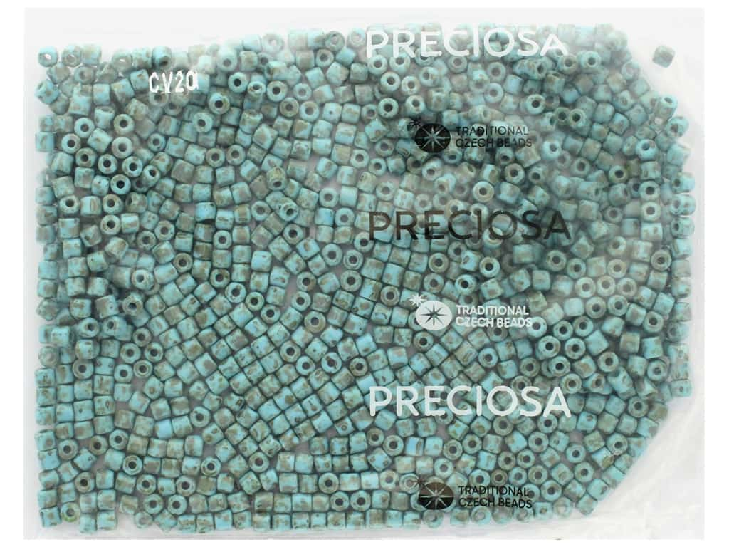 John Bead Czech Rola Bead 4.5mm Opaque Travertine On Turquoise
