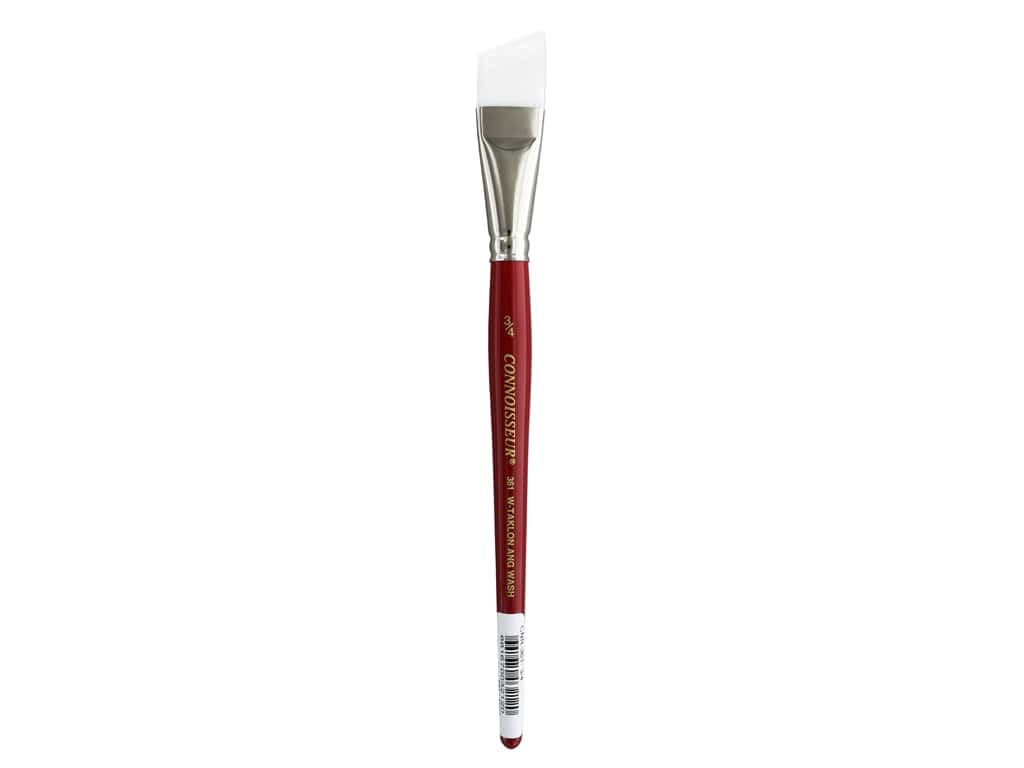 Connoisseur White Taklon Brush Short Angular 3/4 in.