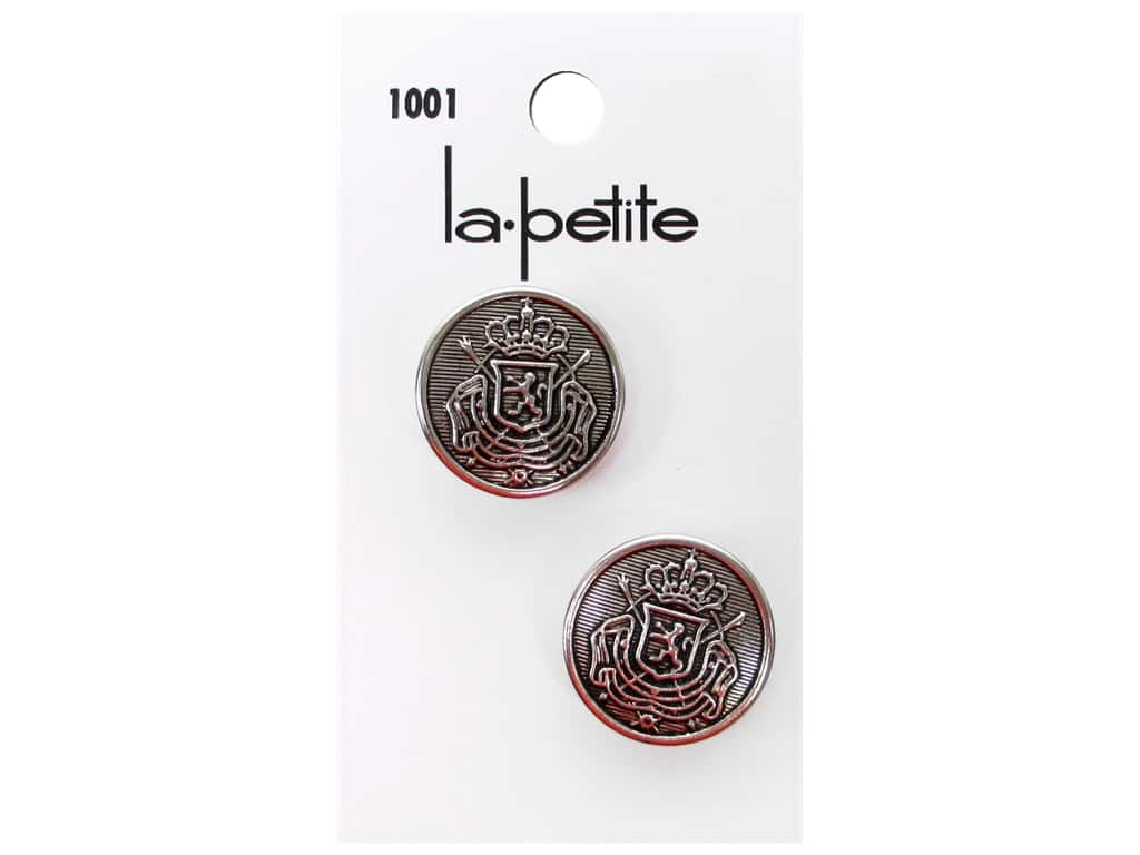 LaPetite Buttons - Shank - 3/4 in. Antique Silver with Crest  2 pc.