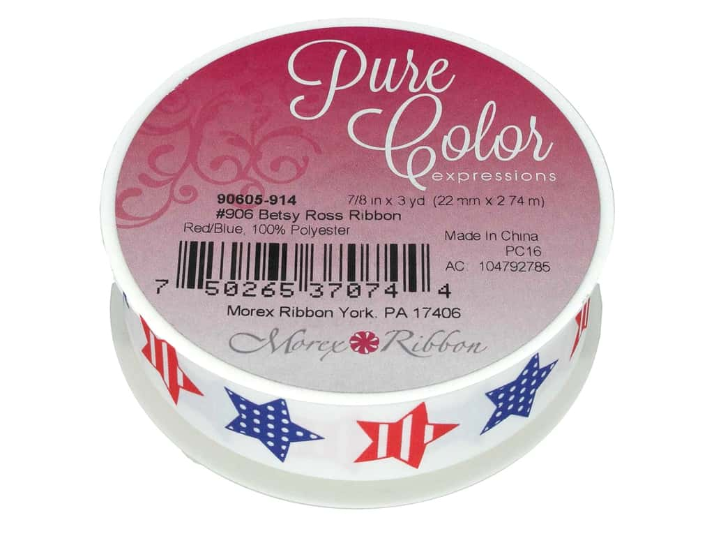"Morex Ribbon Betsy Ross 7/8""x 3yd Red/Blue"