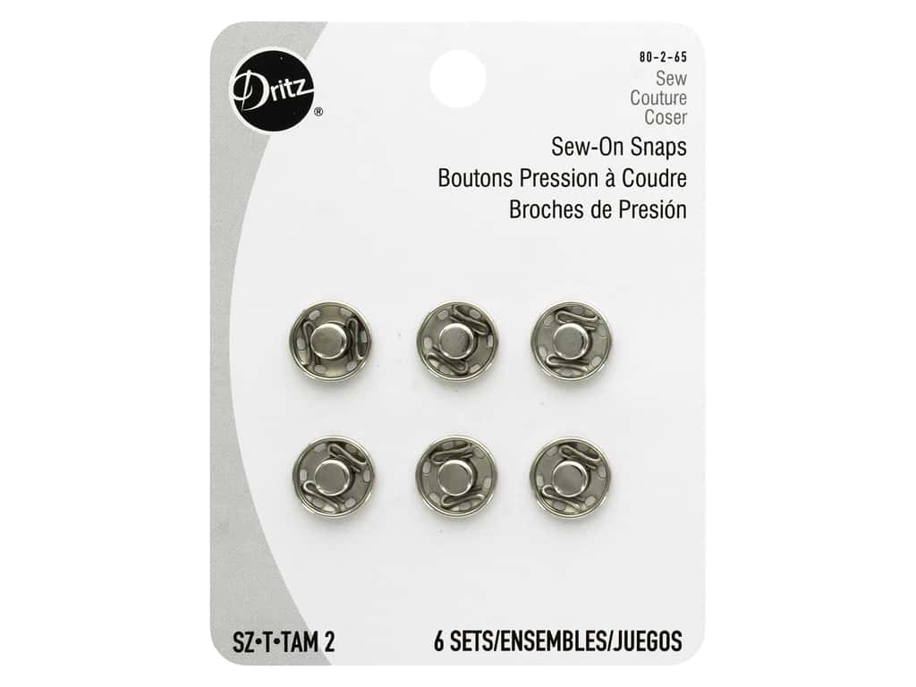 Dritz Sew-On Snaps Size 2 Nickel 6 pc.