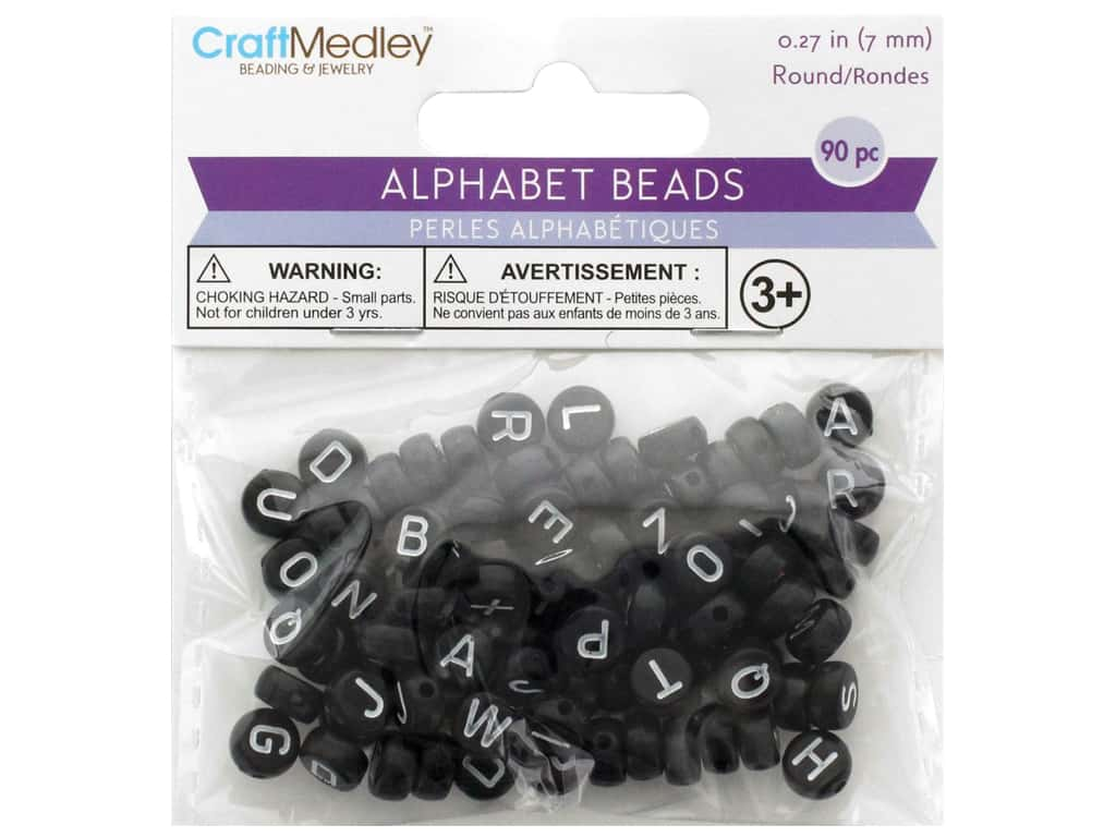 Multicraft Bead Alpha Black With White Letters 90pc