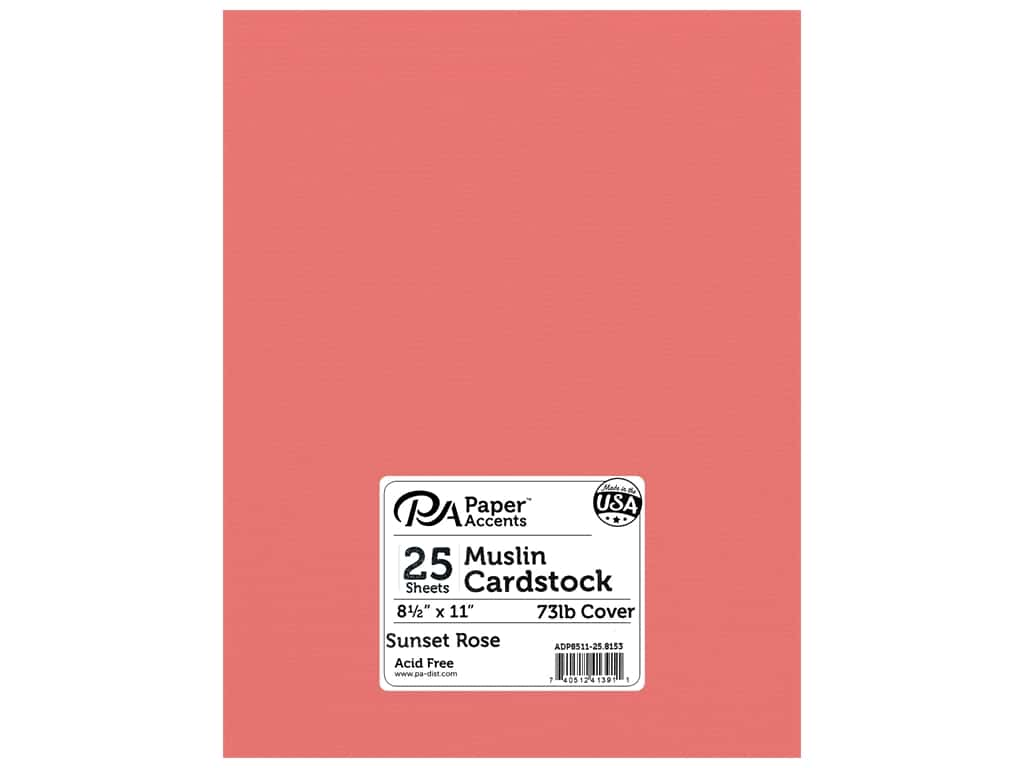 "Paper Accents Cardstock 8.5""x 11"" Textured 73lb Sunset Rose 25pc"