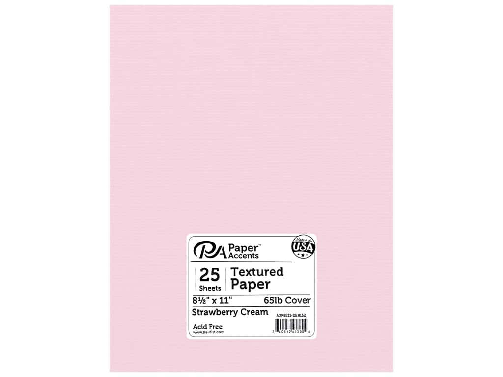 "Paper Accents Cardstock 8.5""x 11"" Textured 73lb Strawberry Cream 25pc"