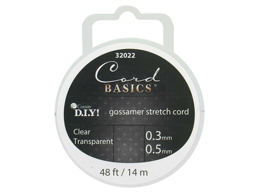 Cousin Findings Cord Basics Gossamer Stretch .5mmx 48' Clear
