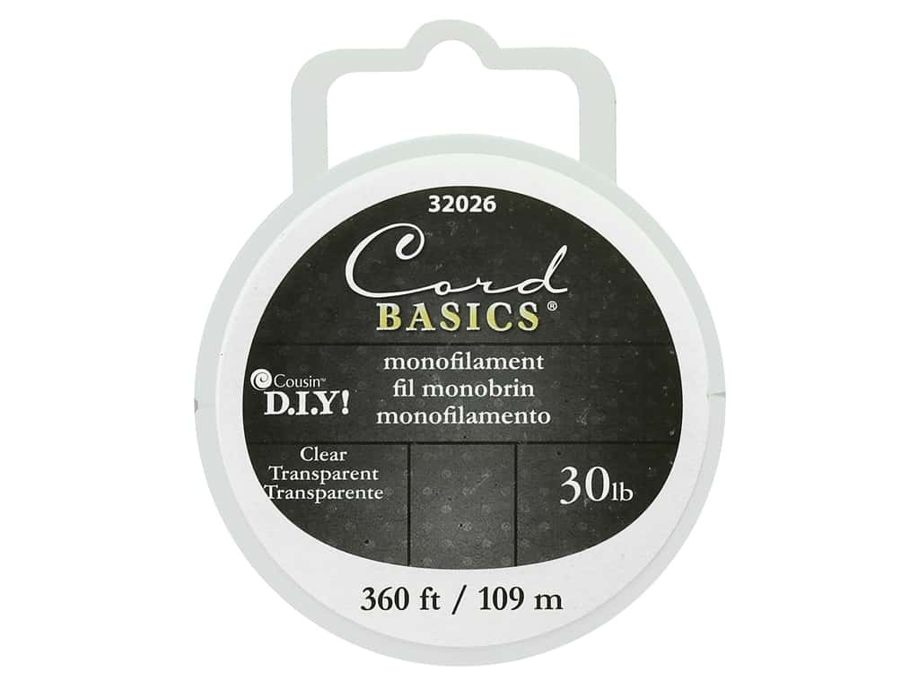 Cousin Findings Cord Basics Monofilament 30lb 360' Clear