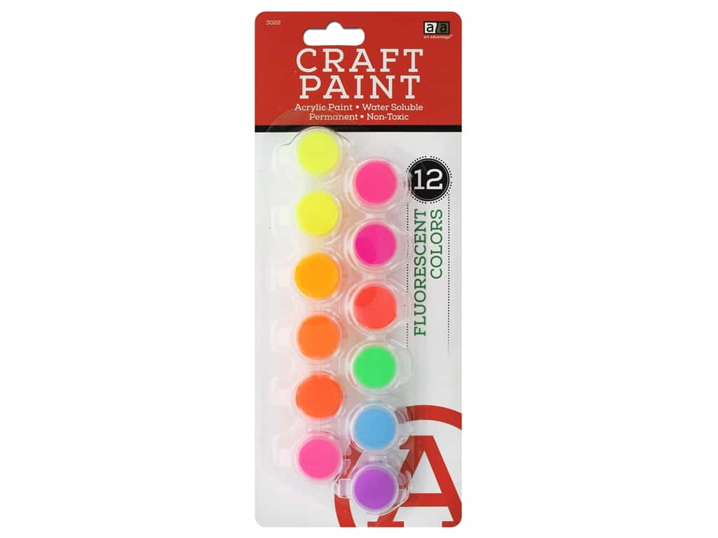 Art Advantage Paint Set Acrylic Paint Pot Fluorescent 12 pc