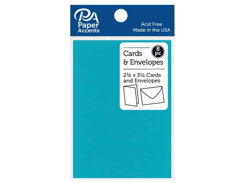 Paper Accents Blank Card & Envelopes - 2 1/2 x 3 1/2 in. - Sea Blue 8 pc.
