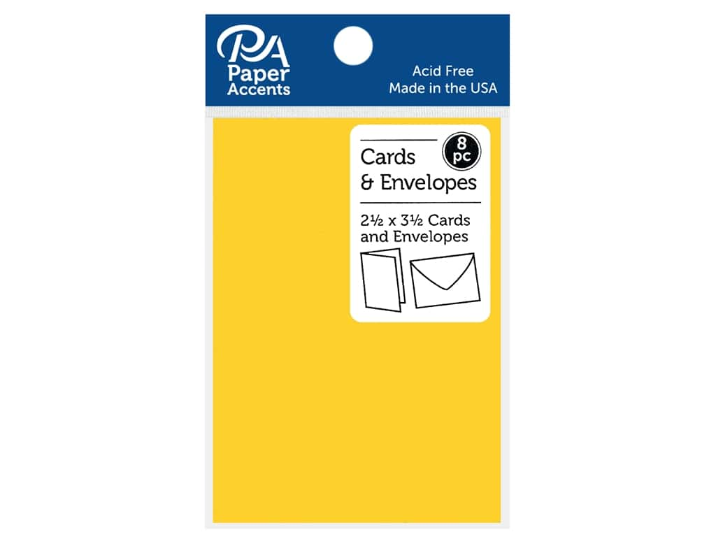 "Paper Accents Card & Envelopes 2.5""x 3.5"" Smooth 65lb 8pc Canary Yellow"