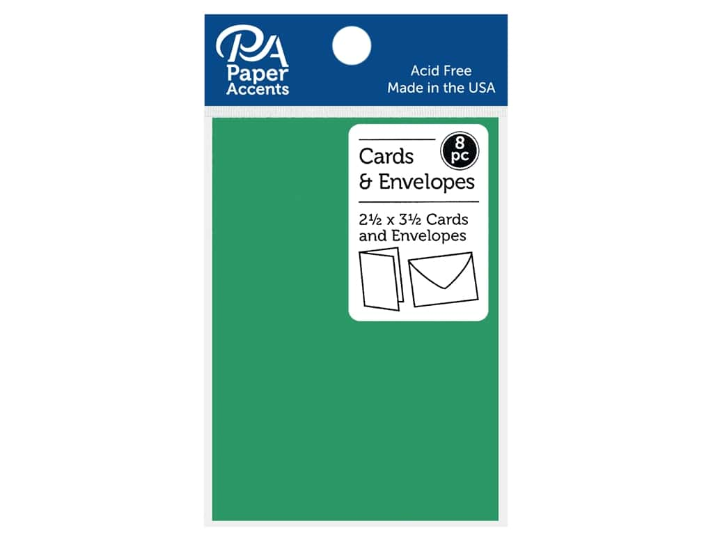 """Paper Accents Card & Envelopes 2.5""""x 3.5"""" Smooth 65lb 8pc Green Grass"""