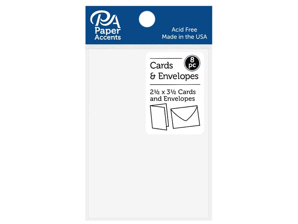 """Paper Accents Card & Envelopes 2.5""""x 3.5"""" Smooth 65lb 8pc White"""