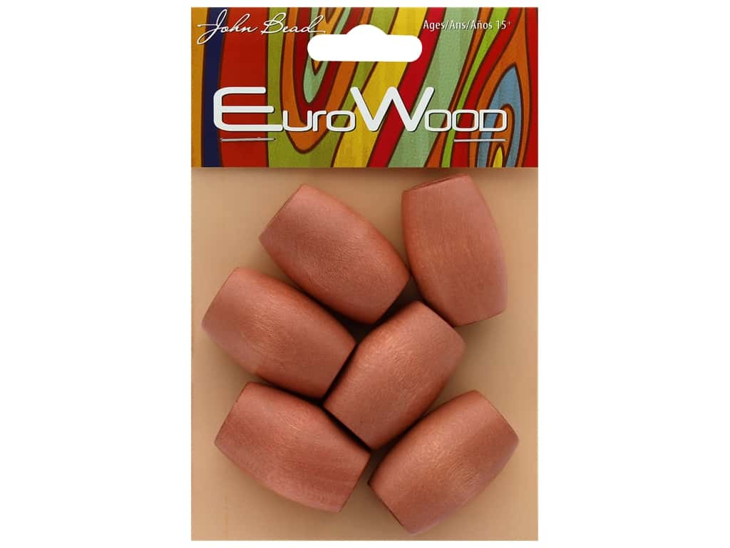 John Bead Wood Bead Euro Wood Oval Large Hole 22x33mm Light Brown