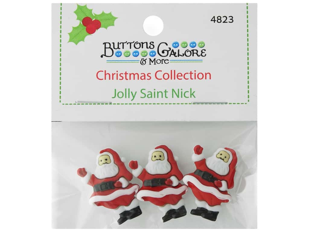 Buttons Galore Theme Button Christmas Collection Jolly Saint Nick