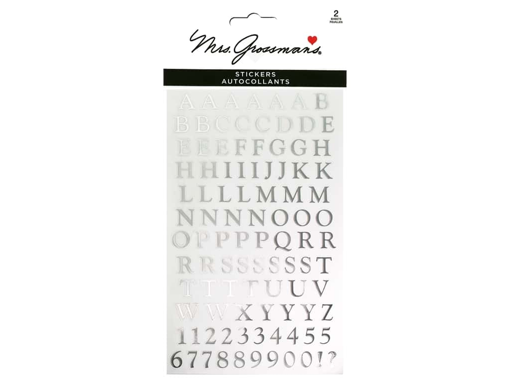 Mrs Grossman's Stickers - Reflections Classic Alphabet Silver