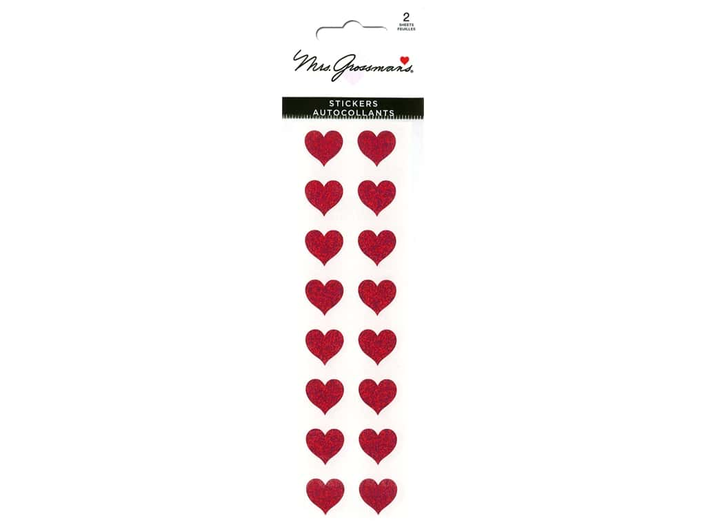 Mrs Grossman's Stickers - Sparkle Small Red Heart