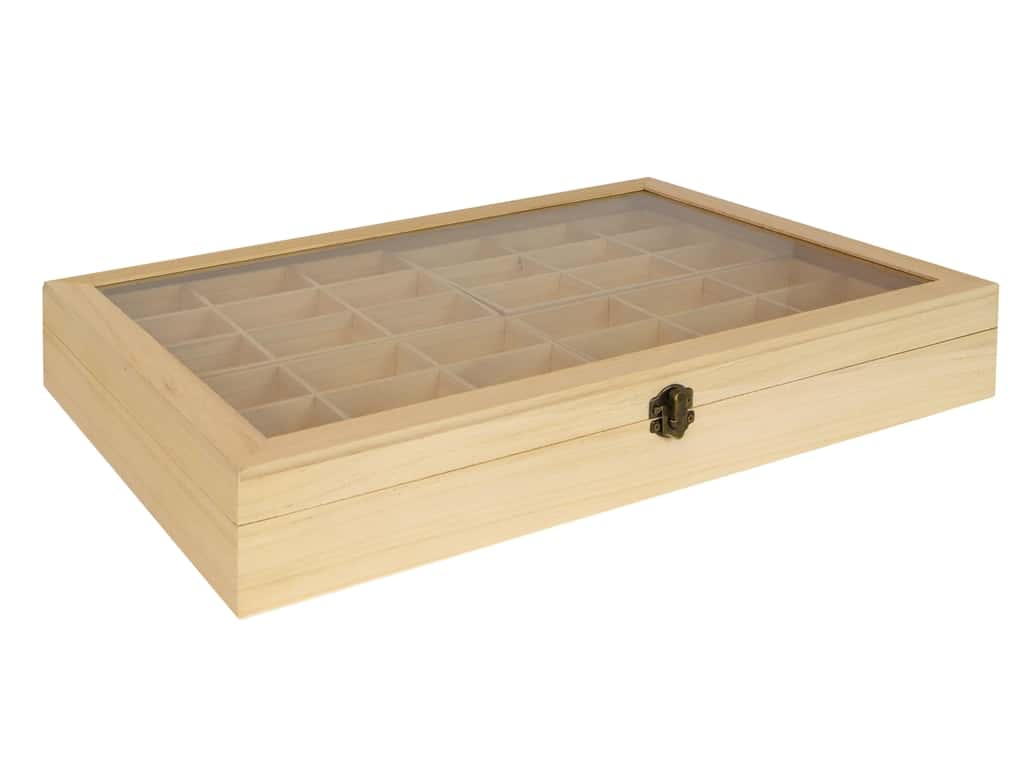 "Sierra Pacific Crafts Wood Box Two Layer With Glass Top 17.75""x 11.75"""