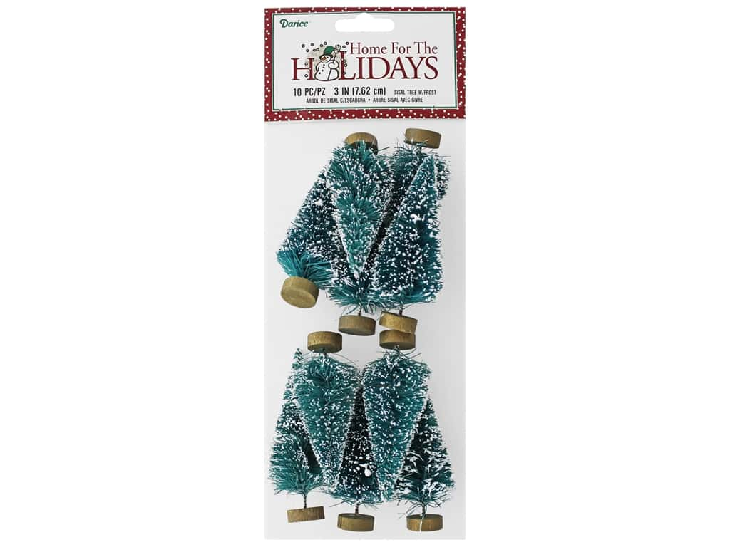 Darice Sisal Tree 3 in. Green with Frost 10 pc.