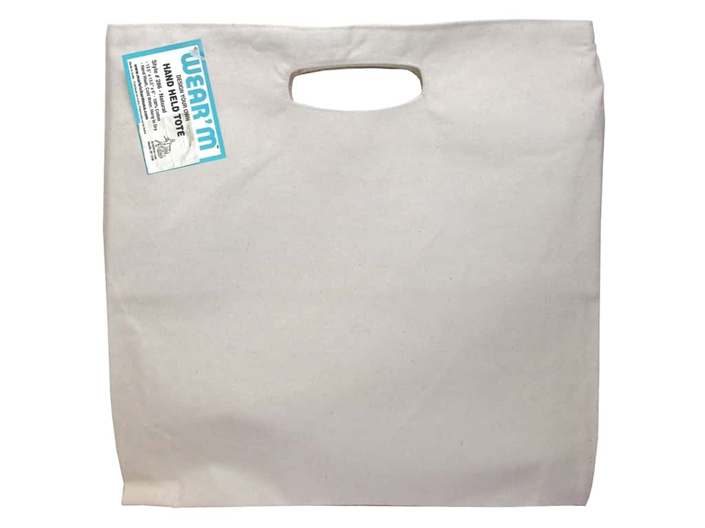 Mark Richards Canvas Hand Held Tote 13 1/2 x 13 1/2 x 2 in. Natural