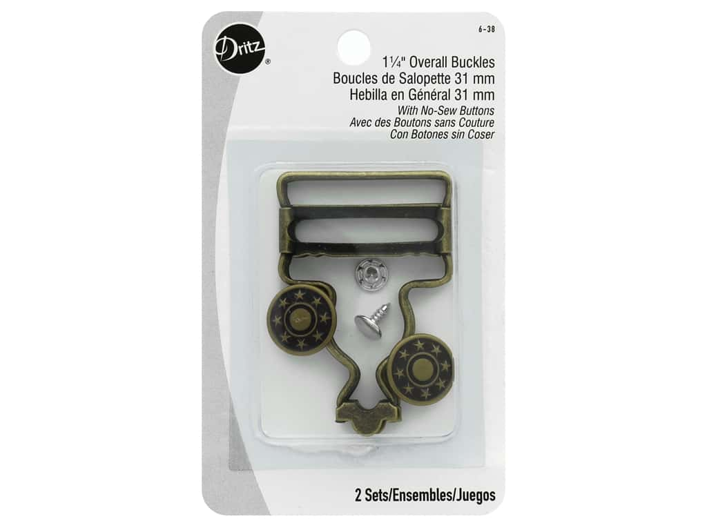 Dritz Overall Buckle with No-Sew Button - 1 1/4 in. Antique Brass
