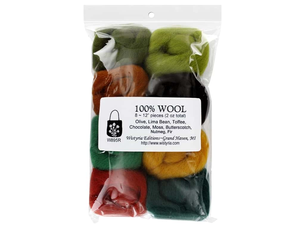 Wistyria Editions 100% Wool Roving 8 pc Woodsy
