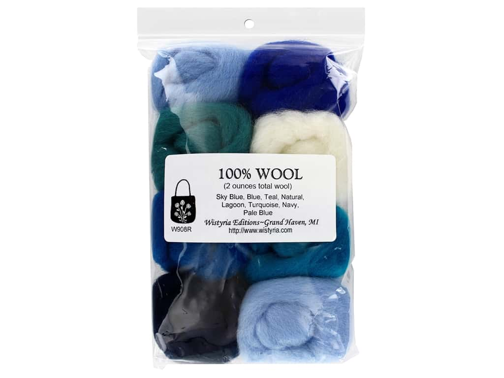 Wistyria Editions 100% Wool Roving 8 pc The Sea