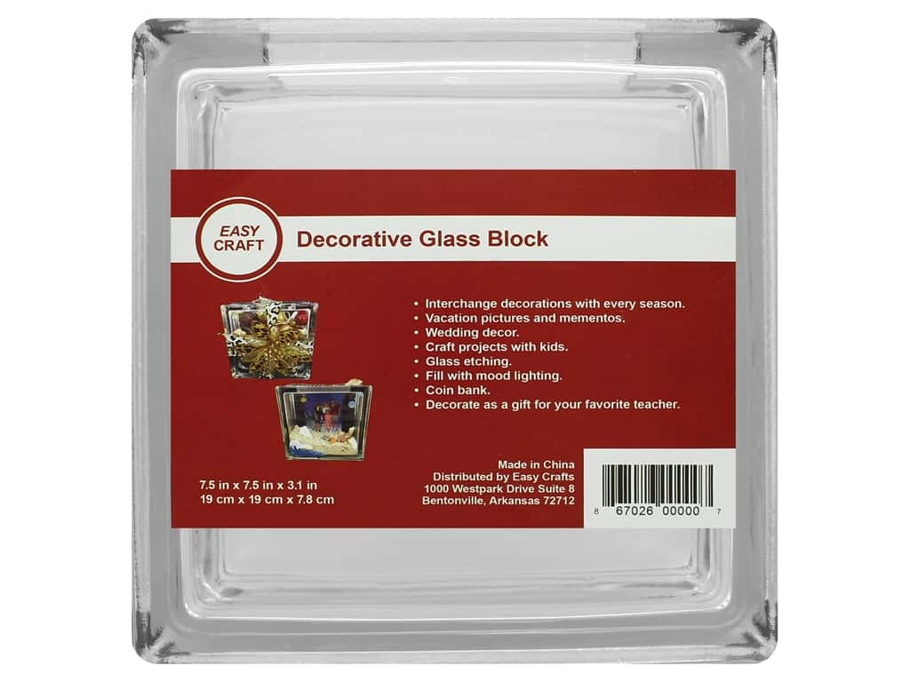 Essentials By Leisure Arts Decor Glass Block 7 1/2 in. Square (4 pieces)