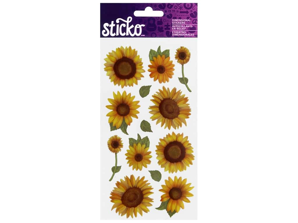 Sticko Dimensional Stickers - Sunflowers