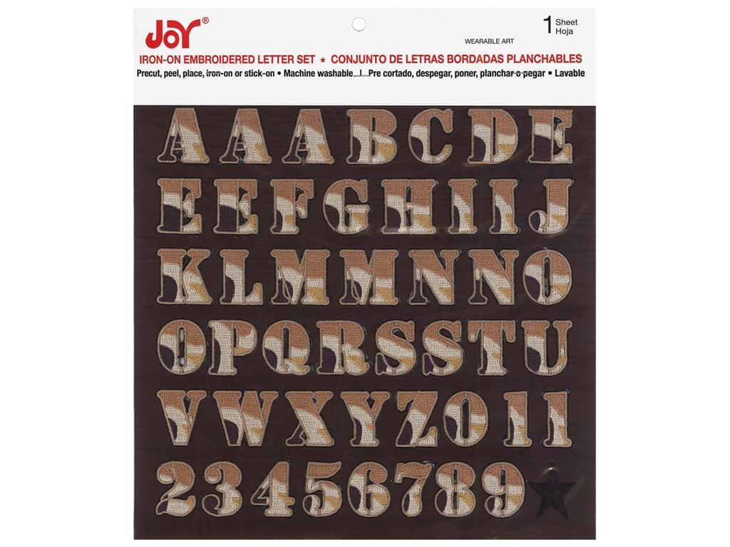 "Joy Applique Letter Iron On Alpha 1"" Camo Brown"