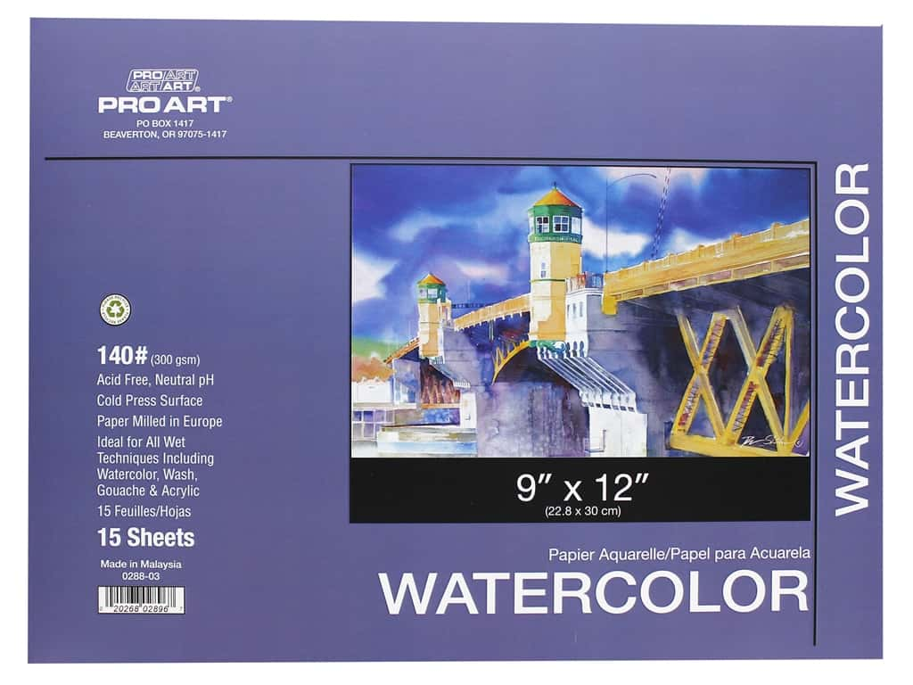 Pro Art Watercolor Paper Block 9 x 12 in. 140 lb. 15 Sheets