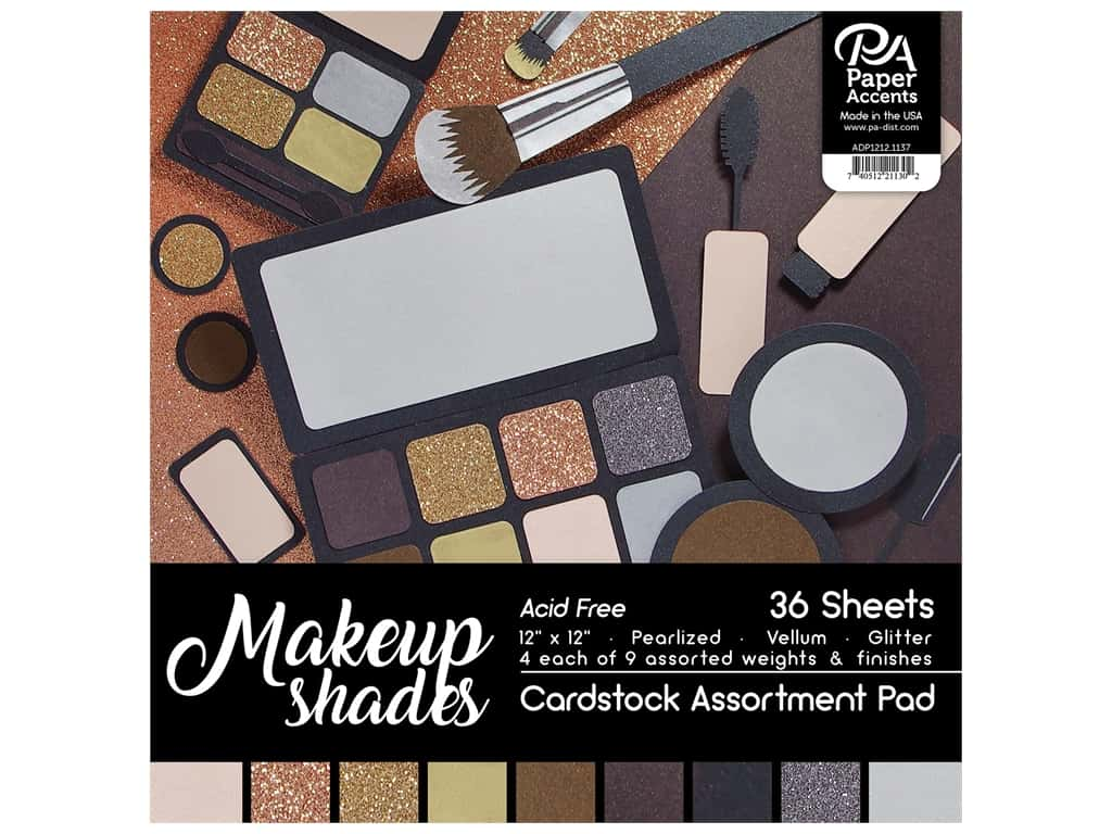 "Paper Accents Cardstock Pad 12""x 12"" Makeup Shades Assortment 36pc"