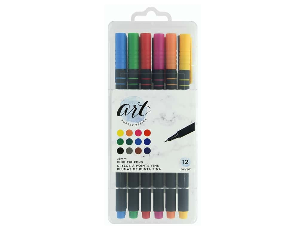American Crafts Art Supply Basics Fine Tip Pens 12 pc.