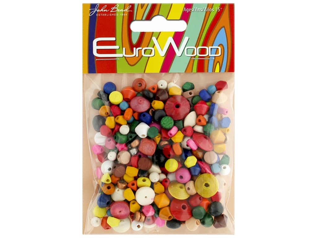 John Bead Wood Bead Euro Small Multi Color/Shape