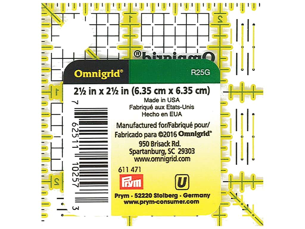 Omnigrid Ruler 2 1/2 x 2 1/2 in.