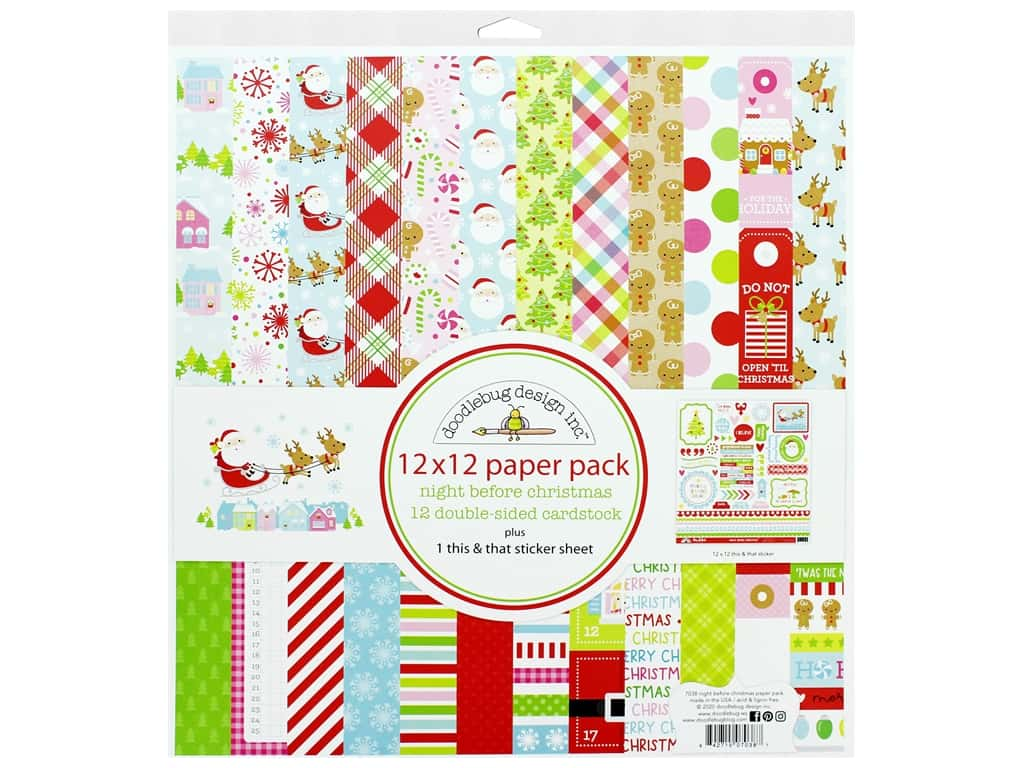 """Doodlebug Night Before Christmas Paper Pack 12""""x 12"""""""