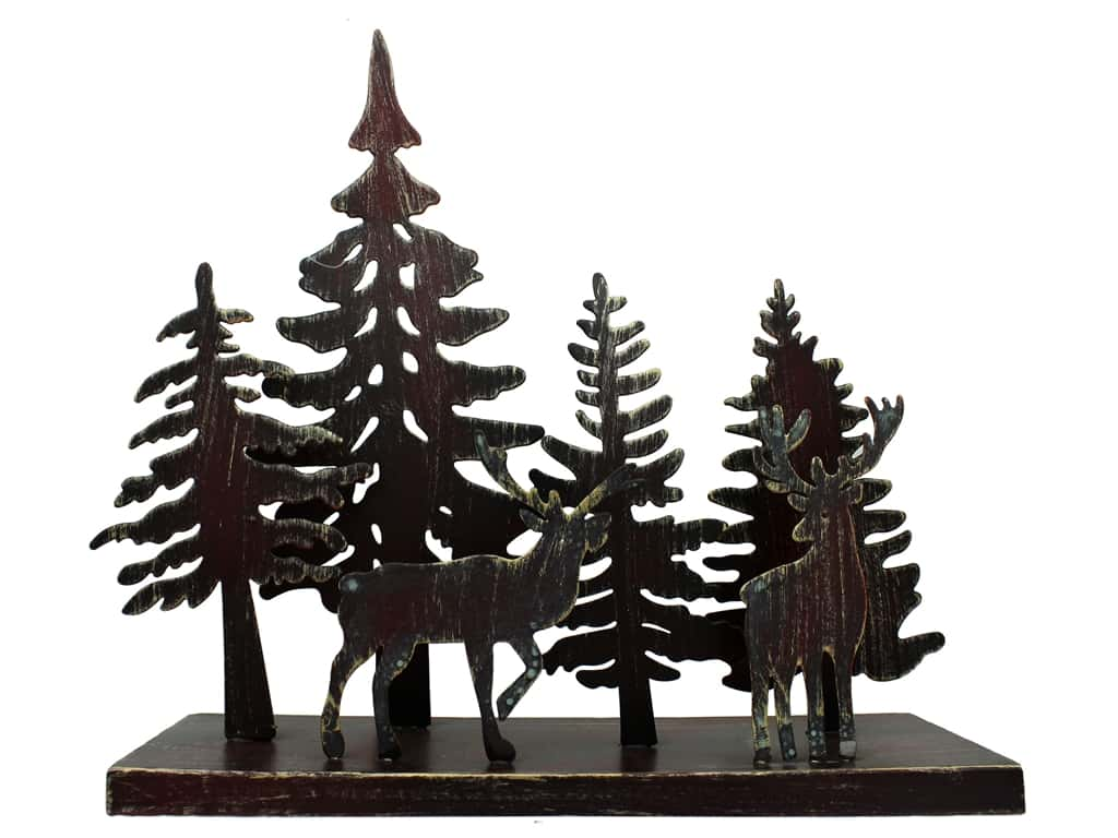 "Sierra Pacific Decor Trees & Deer On Stand 12.75""x 11.5""x 4"" Metal"