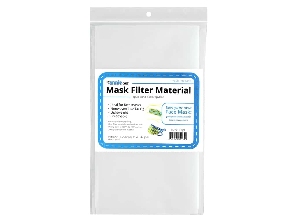 """By Annie Mask Filter Material 20""""x 1yd White"""