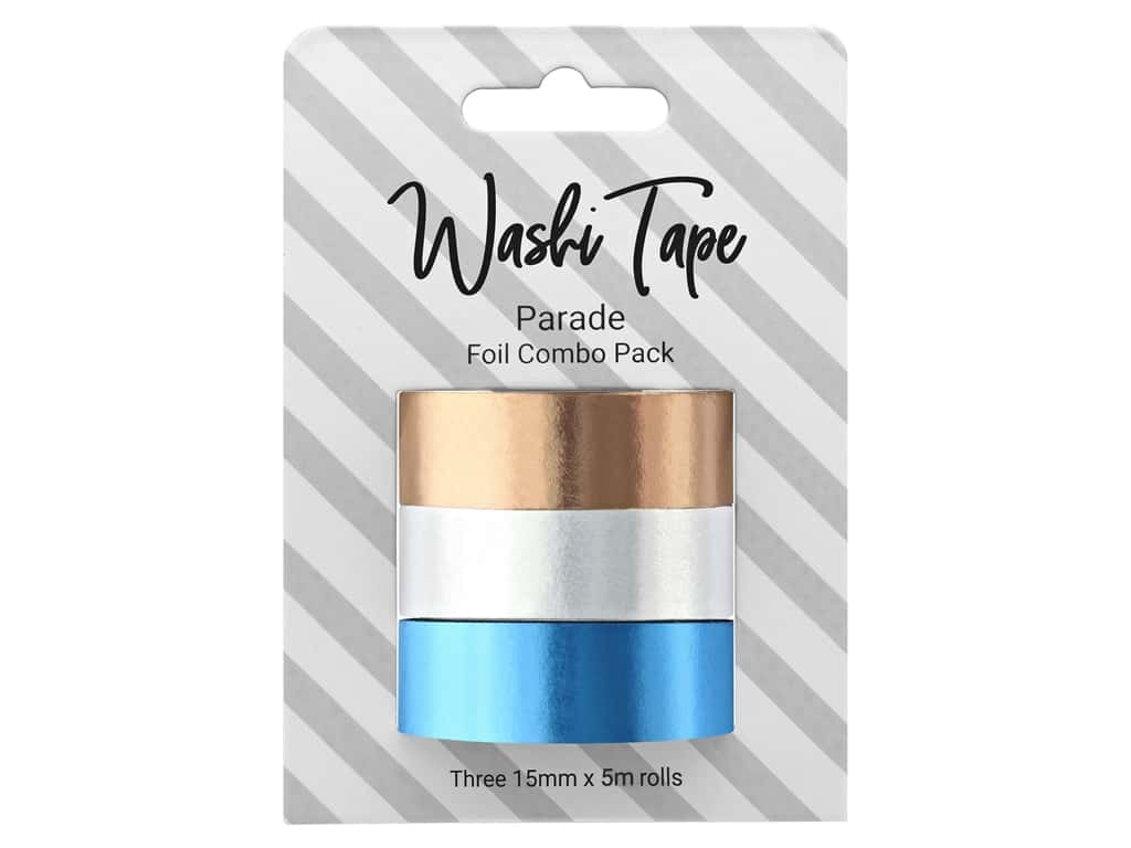 PA Essentials Washi Tape 15mm x 5m 3pc Combo Pack Foil Parade