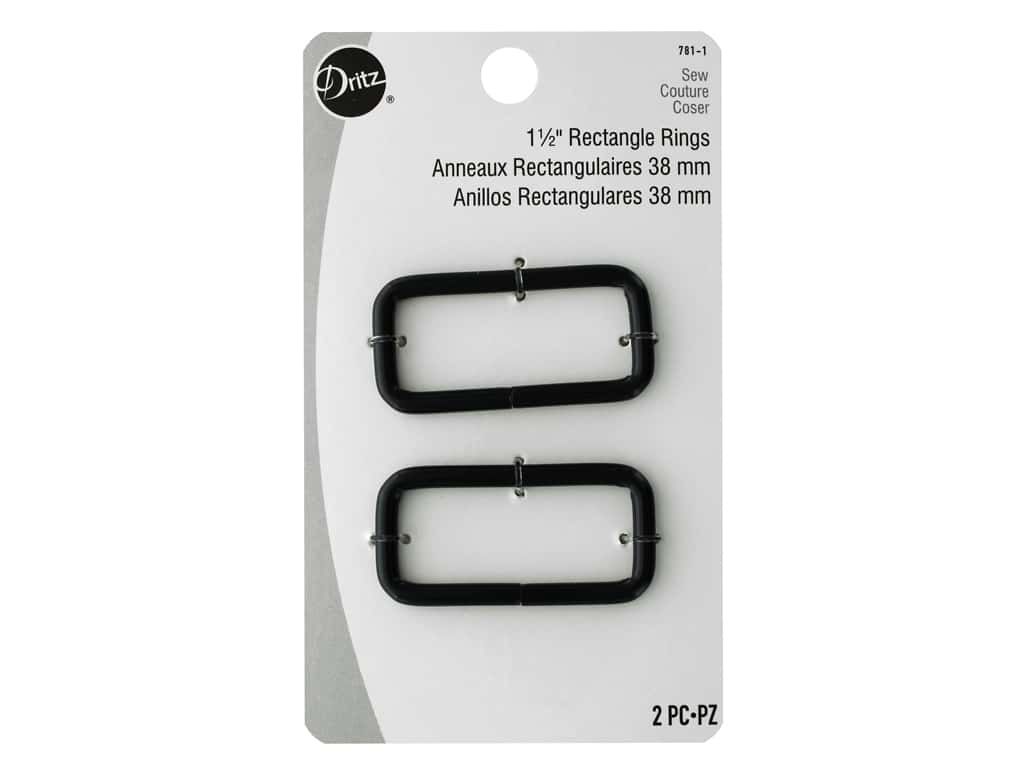 Dritz Rectangle Rings - 1 1/2 in. Matte Black 2 pc.
