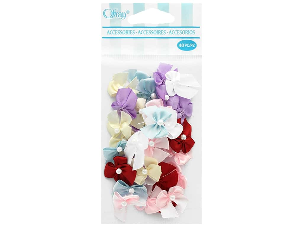 Offray 2 Loop Ribbon Bow with Pearl 40 pc. Multi-Color