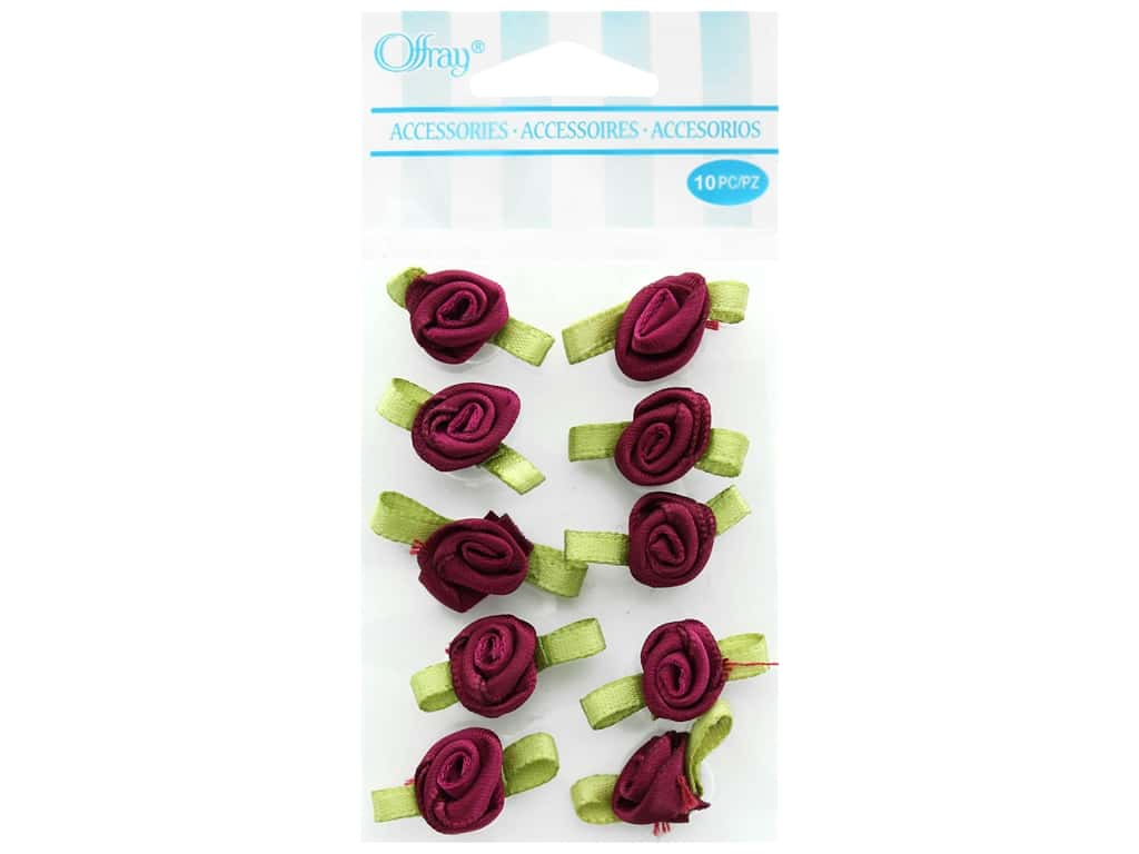 Offray Small Satin Ribbon Roses 10 pc. Wine